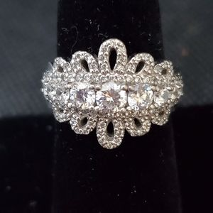 Diamonique  and Sterling  Silver  Ring  Sz 8